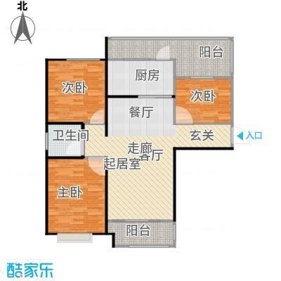 左岸骏景户型3室1卫1厨