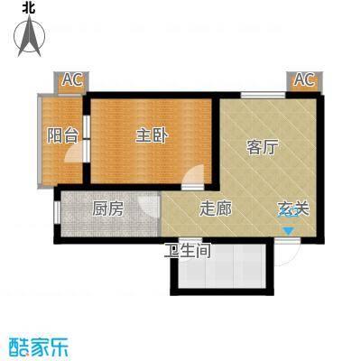丽景华庭56.36㎡3-A户型一室一厅一卫户型1室1厅1卫