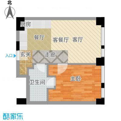 天津科技广场B1a户型 一室一厅一卫户型