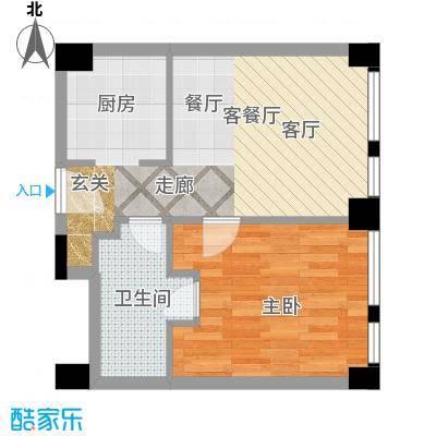 天津科技广场B1户型 一室一厅一卫户型