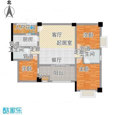 长安未来国际124.96㎡E户型3室2厅2卫