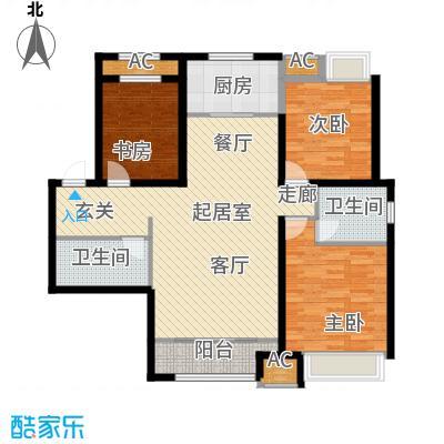 曦城花语114.73㎡高层3A户型3室2厅2卫QQ
