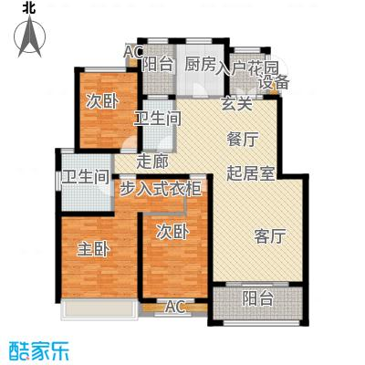 曦城花语145.00㎡电梯洋房户型3室2厅2卫QQ