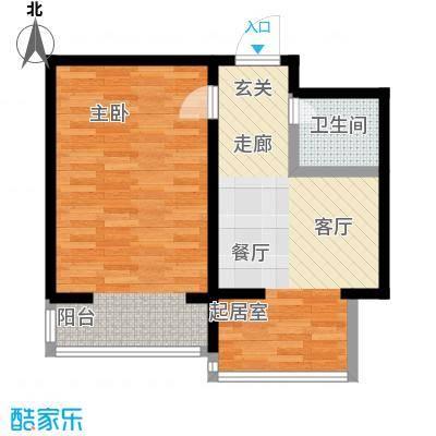 北苑绿洲56.19㎡一室一厅一卫户型S