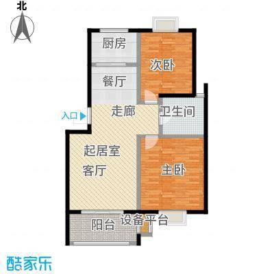 翡翠湾89.00㎡89平米两房户型2室1厅1卫