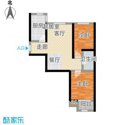 景城时代76.84㎡GF户型 二室二厅一卫户型2室2厅1卫
