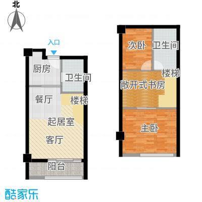 诚基百家湖小公馆47.00㎡A户型2室2卫1厨