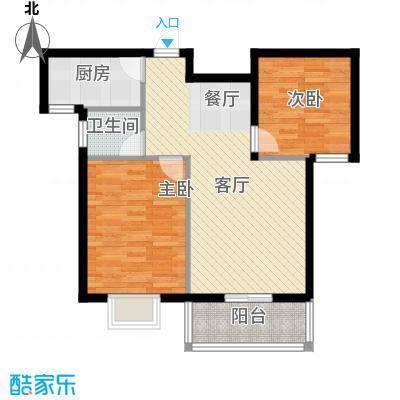滨海国际86.01㎡4/7号楼F3户型2室2厅1卫