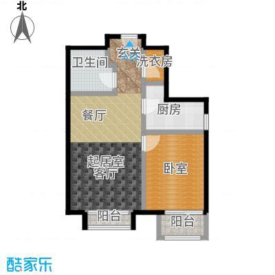 源盛嘉禾65.00㎡高层G-2户型1室2厅1卫