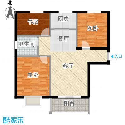 滨海国际98.13㎡4/7号楼F1户型3室2厅1卫