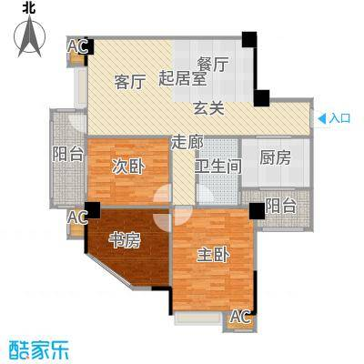 top尚城户型3室1卫1厨