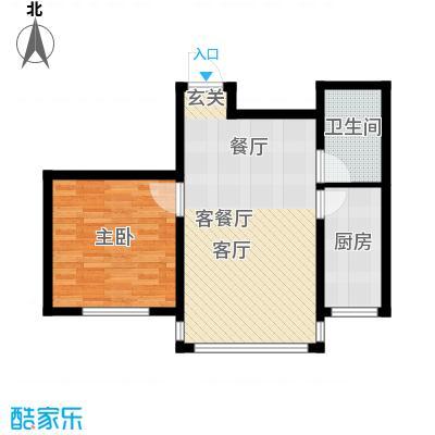 金鼎凤凰城56.60㎡B户型1室2厅1卫1厨 56.60㎡户型1室2厅1卫