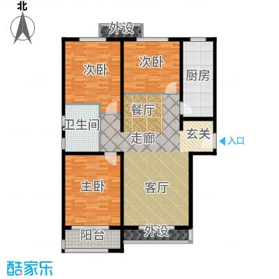 惠腾公寓A3户型图三室两厅一卫 119.98㎡户型3室2厅1卫