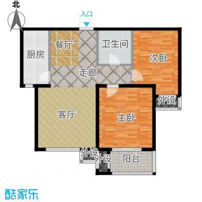 惠腾公寓A2户型图两室两厅一卫90.19㎡户型2室2厅1卫