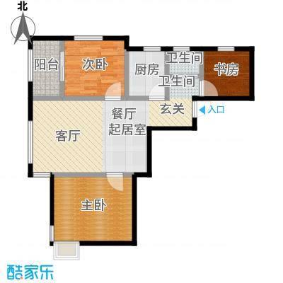 恒信珑湖国际68.64㎡户型3室1卫1厨