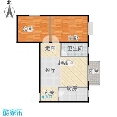 鸥洲89.44㎡电梯洋房户型图Y户型2室2厅1卫