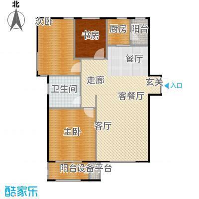 华中国宅华园132.28㎡D-8 三室两厅一卫户型3室2厅1卫