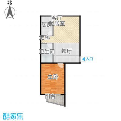 鸥洲72.62㎡电梯洋房户型图U户型1室2厅1卫