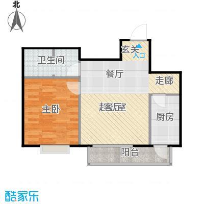 鸥洲70.00㎡电梯洋房户型图R户型1室2厅1卫