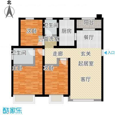 金科廊桥水乡126.55㎡高层CC1C2户型3室2厅2卫-T