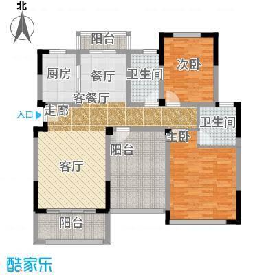 中城建世界名城户型2室1厅2卫1厨