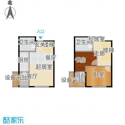 弘泽鉴筑93.00㎡跃层户型1室1厅1卫