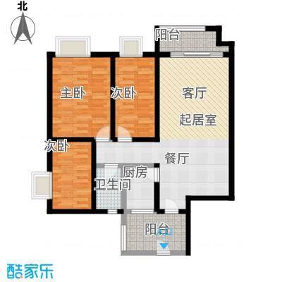 珠江嘉园90.00㎡10栋B梯05单元户型3室1卫1厨