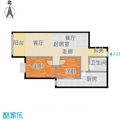 乐府国际公寓112.04㎡D1户型2室2厅1卫