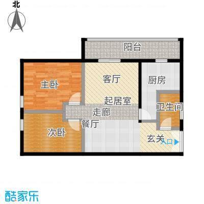 乐府国际公寓108.09㎡E1户型2室2厅1卫