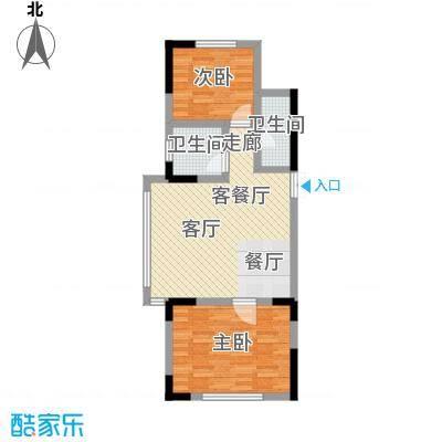 渤海玉园86.14㎡J户型2室2厅1卫
