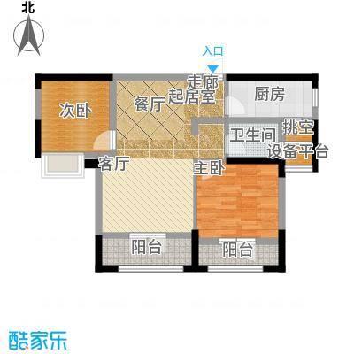 绿地中央广场户型2室1卫1厨