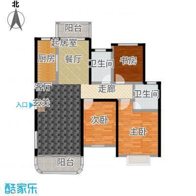 碧水戎城124.94㎡F-1型户型3室2厅2卫