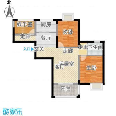 荣鼎幸福城89.91㎡户型2室1卫1厨