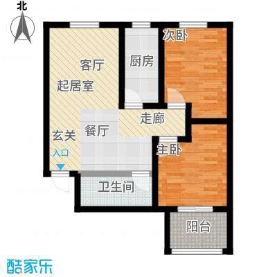 龙潭湖凤凰山庄76.91㎡D户型两室两厅一卫户型2室2厅-T