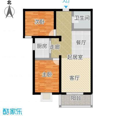 水畔明珠103.60㎡K户型两室两厅一卫户型2室2厅1卫