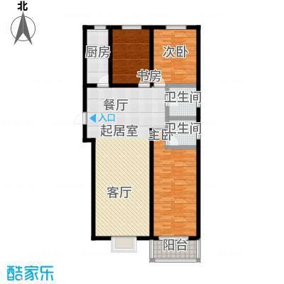 水畔明珠128.80㎡J户型三室两厅两卫户型3室2厅2卫