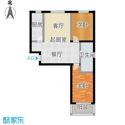 水畔明珠102.19㎡I户型两室两厅一卫户型2室2厅1卫