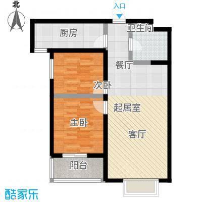 水畔明珠91.23㎡F户型两室两厅一卫户型2室2厅1卫