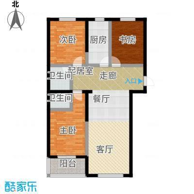 水畔明珠131.01㎡D户型三室两厅两卫户型3室2厅2卫