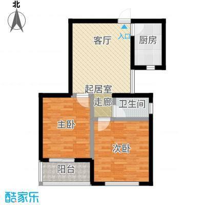 水畔明珠81.32㎡C户型两室一厅一卫户型2室2厅1卫