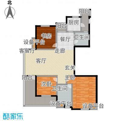 高新名门184.01㎡C座2单元西户户型3室2厅2卫