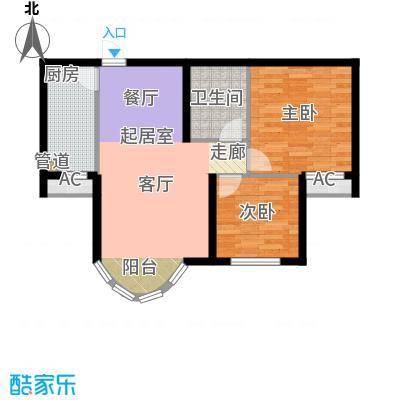 山水太阳城89.30㎡D2两室两厅一卫户型