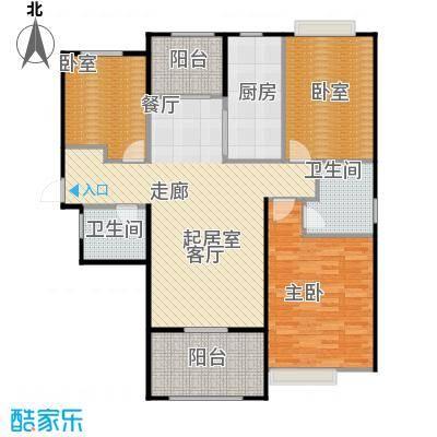 首开太湖一号A户型 113平米户型3室2厅2卫