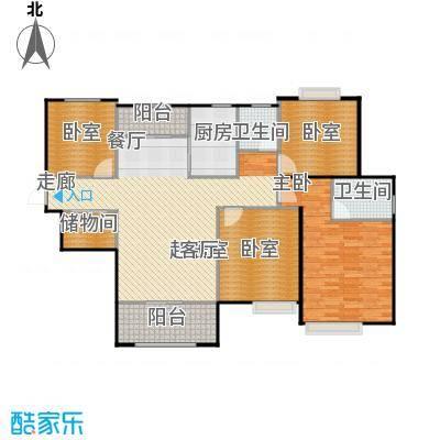 首开太湖一号c户型 135平米户型3室2厅2卫