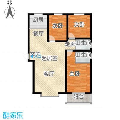 海韵馨园129.23㎡1#E户型3室2厅2卫