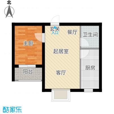 海韵馨园52.94㎡1#B户型1室2厅1卫