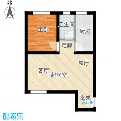 海韵馨园53.66㎡2#A户型1室2厅1卫