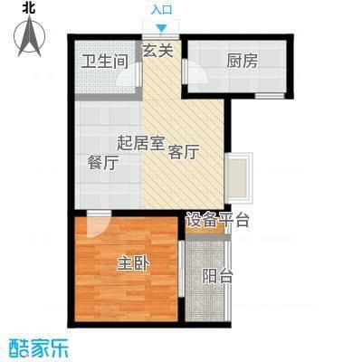 高新领域62.00㎡62平米一室两厅一卫户型