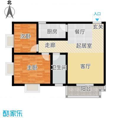 高新领域85.00㎡85平米两室两厅一卫户型