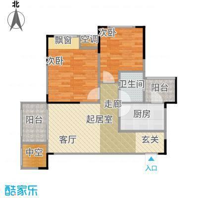 香颂小镇67.00㎡N1户型2室2厅1卫